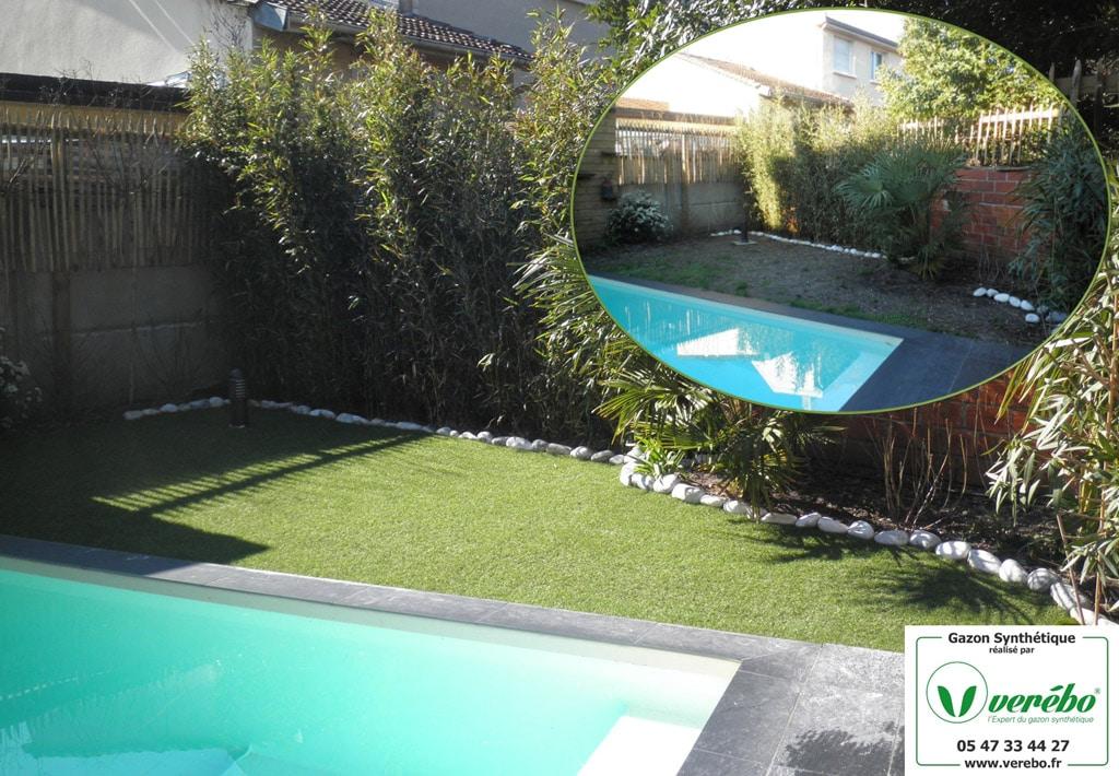 pose de gazon artificiel autour d'une piscine à Merignac