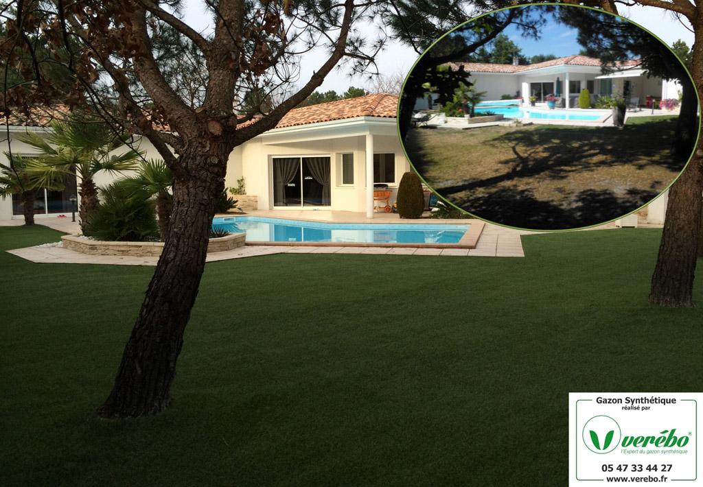 Verébo a posé du gazon synthétique autour d'une piscine à Arcachon