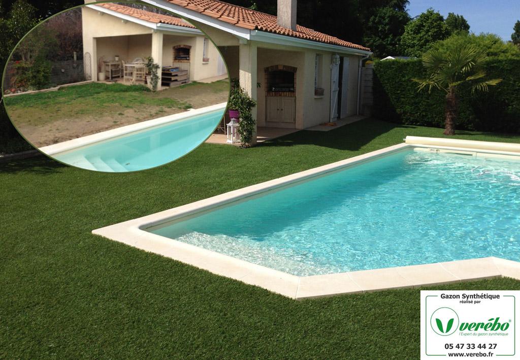 la pelouse artificielle autour de la piscine remplace la terrasse