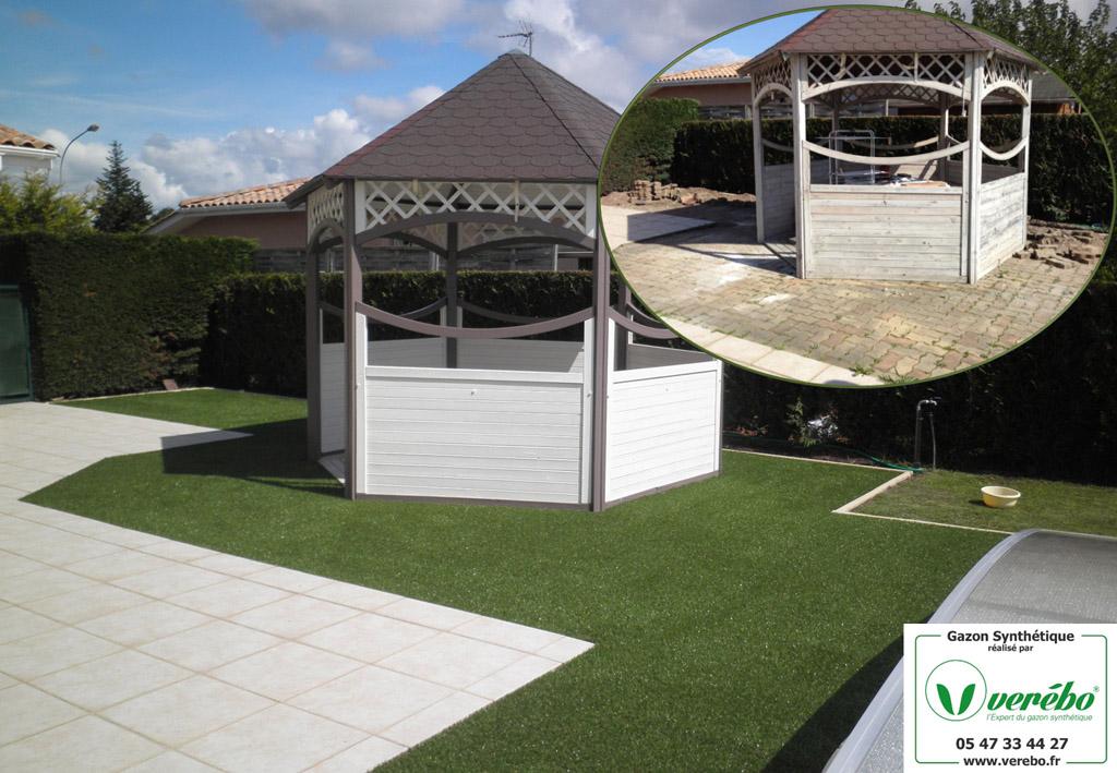 une terrasse en pelouse artificielle donne un autre aspect que les pavés autobloquants