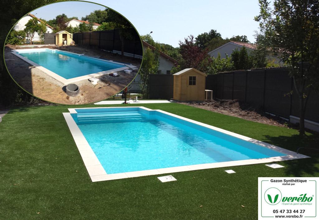pose d'une pelouse synthétique autour de la piscine sur le bassin d'Arcachon
